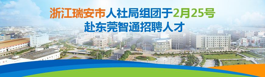浙江瑞安市人社局组团于2月25号赴东莞智通招聘人才